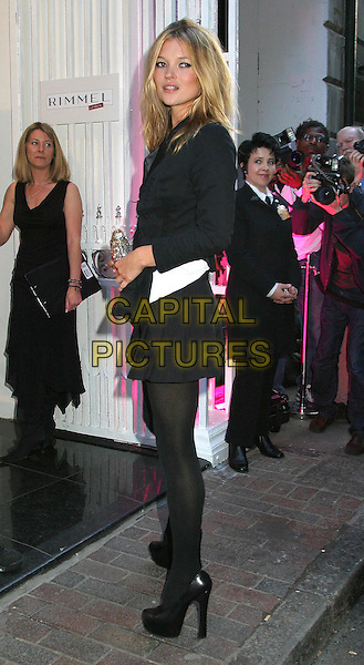 KATE MOSS.Rimmel Launch Party.www.capitalpictures.com.sales@capitalpictures.com.©Capital Pictures.platform heels, black stockings, tight, micro mini skirt, full length, full-length.