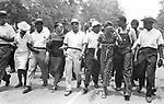 The leaders at the front of the line of  Marchers as the 2nd Meredith March Against Fear approaches Jackson, Mississippi. photographed by Jim Peppler for essay published in The Southern Courier on June 25, 1966. Copyright Jim Peppler/1966. .This and over 10,000 other images are part of the Jim Peppler Collection at The Alabama Department of Archives and History:  http://digital.archives.alabama.gov/cdm4/peppler.php