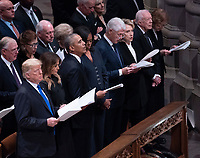 December 5, 2018 - Washington, DC, United States: United States President  Donald J. Trump, First Lady Melania Trump, Barack Obama, Michelle Obama, Bill Clinton, Hillary Clinton, Jimmy Carter and Rosalyn Carter attend the state funeral service of former President George W. Bush at the National Cathedral.  <br /> <br /> CAP/MPI/RS<br /> &copy;RS/MPI/Capital Pictures