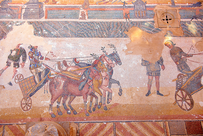 Chariot racing at the Circus Maximus Chariot racing at the Circus Maximus from the Palaestra room no 15.. Roman mosaics at the Villa Romana del Casale which containis the richest, largest and most complex collection of Roman mosaics in the world. Constructed  in the first quarter of the 4th century AD. Sicily, Italy. A UNESCO World Heritage Site.