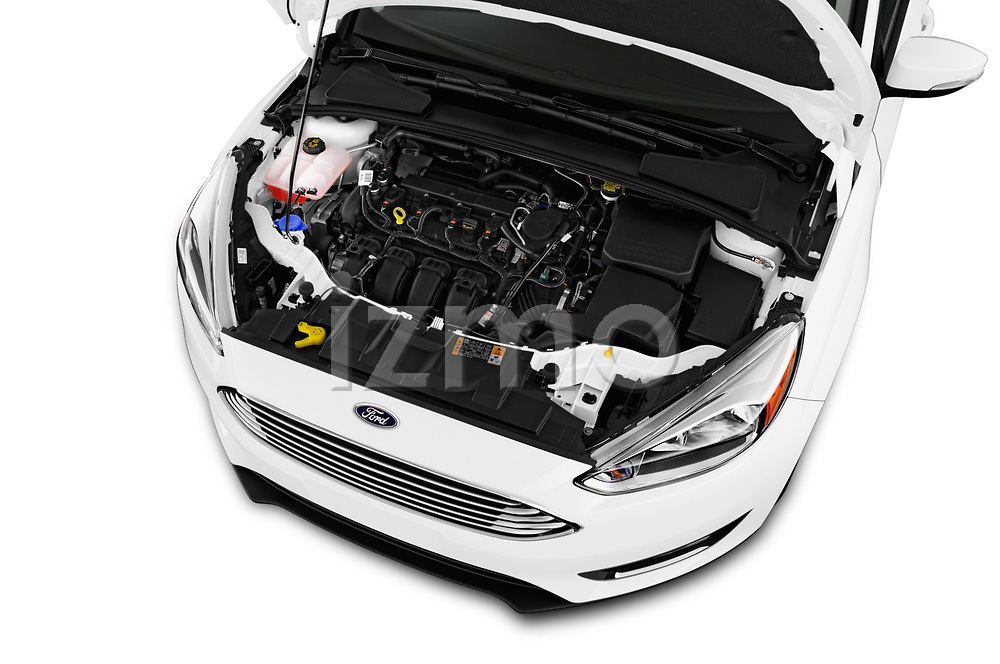 Car Stock 2017 Ford Focus Titanium 4 Door Sedan Engine  high angle detail view