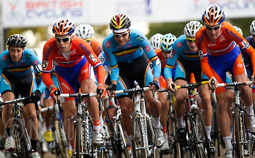 03 NOV 2012 - IPSWICH, GBR - Competitors race from the start of the Under 23 Men's European Cyclo-Cross Championships in Chantry Park, Ipswich, Suffolk, Great Britain .(PHOTO (C) 2012 NIGEL FARROW)