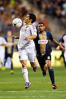 Tony Beltran (2) of Real Salt Lake controls a pass. The Philadelphia Union and Real Salt Lake played to a 0-0 tie during a Major League Soccer (MLS) match at PPL Park in Chester, PA, on August 24, 2012.