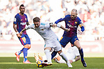 Sergio Ramos (2nd L) of Real Madrid fights for the ball with Andres Iniesta Lujan (2nd R) of FC Barcelona during the La Liga 2017-18 match between Real Madrid and FC Barcelona at Santiago Bernabeu Stadium on December 23 2017 in Madrid, Spain. Photo by Diego Gonzalez / Power Sport Images