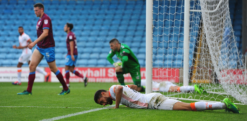 Blackpool's Kelvin Mellor reacts after failing to connect with a cross<br /> <br /> Photographer Chris Vaughan/CameraSport<br /> <br /> The EFL Sky Bet League One - Scunthorpe United v Blackpool - Saturday 9th September 2017 - Glanford Park - Scunthorpe<br /> <br /> World Copyright &copy; 2017 CameraSport. All rights reserved. 43 Linden Ave. Countesthorpe. Leicester. England. LE8 5PG - Tel: +44 (0) 116 277 4147 - admin@camerasport.com - www.camerasport.com