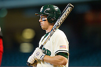 Brooks Pinckard #16 of the Baylor Bears looks to his third base coach for the sign during the game against the Utah Utes at Minute Maid Park on March 5, 2011 in Houston, Texas.  Photo by Brian Westerholt / Four Seam Images