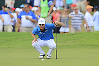 Zach Johnson (USA) lines up his putt on the 18th green during Saturday's Round 3 of the 2017 PGA Championship held at Quail Hollow Golf Club, Charlotte, North Carolina, USA. 12th August 2017.<br /> Picture: Eoin Clarke | Golffile<br /> <br /> <br /> All photos usage must carry mandatory copyright credit (&copy; Golffile | Eoin Clarke)