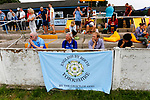 Yorkshire fans watching the game with a patriotic banner. Yorkshire v Parishes of Jersey, CONIFA Heritage Cup, Ingfield Stadium, Ossett. Yorkshire's first competitive game. The Yorkshire International Football Association was formed in 2017 and accepted by CONIFA in 2018. Their first competative fixture saw them host Parishes of Jersey in the Heritage Cup at Ingfield stadium in Ossett. Yorkshire won 1-0 with a 93 minute goal in front of 521 people.