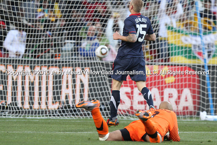 18 JUN 2010: Tim Howard (USA) (below) and Jay DeMerit (USA) (15) are beaten for a goal by Zlatan Ljubijankic (SVN) ( not pictured). The Slovenia National Team played the United States National Team to a 2-2 at Ellis Park Stadium in Johannesburg, South Africa in a 2010 FIFA World Cup Group C match.
