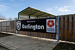 Welcome to Darlington sign near the Tin Shed End. Darlington 1883 v Southport, National League North, 16th February 2019. The reborn Darlington 1883 share a ground with the town's Rugby Union club. <br /> After several years of relegations, bankruptcies, and ground moves, the club is fan owned, and back on an even keel in the National League North.<br /> A 0-0 draw with Southport was marred by a broken leg and dislocated knee suffered by Sam Muggleton, Darlington's on loan left back.<br /> Both teams finished the season in lower mid table.