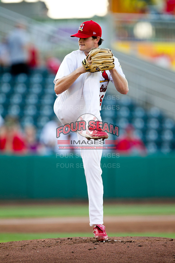 John Gast (16) of the Springfield Cardinals delivers a pitch during a game against the Midland RockHounds at Hammons Field on July 11, 2011 in Springfield, Missouri. (David Welker / Four Seam Images)