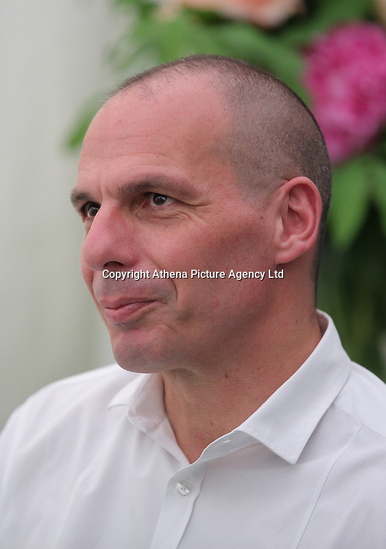 Monday 30 May 2016. Hay on Wye, UK<br /> Former Greek Finance Minister Yanis Varoufakis signing copies of his book<br /> Hay Festival, Hay on Wye, Wales, UK