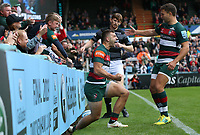 Leicester Tigers' Jonny May celebrates scoring his side's second trywith team-mate Ben Youngs <br /> <br /> Photographer Stephen White/CameraSport<br /> <br /> Gallagher Premiership Round 2 - Leicester Tigers v Newcastle Falcons - Saturday September 8th 2018 - Welford Road - Leicester<br /> <br /> World Copyright &copy; 2018 CameraSport. All rights reserved. 43 Linden Ave. Countesthorpe. Leicester. England. LE8 5PG - Tel: +44 (0) 116 277 4147 - admin@camerasport.com - www.camerasport.com
