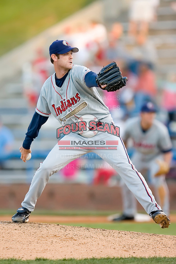 Starting pitcher Jim Deters (25) of the Kinston Indians in action versus the Winston-Salem Warthogs at Ernie Shore Field in Winston-Salem, NC, Saturday May 17, 2008.
