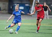 Seattle, WA - Saturday Aug. 27, 2016: Kim Little, Emily Menges during a regular season National Women's Soccer League (NWSL) match between the Seattle Reign FC and the Portland Thorns FC at Memorial Stadium.