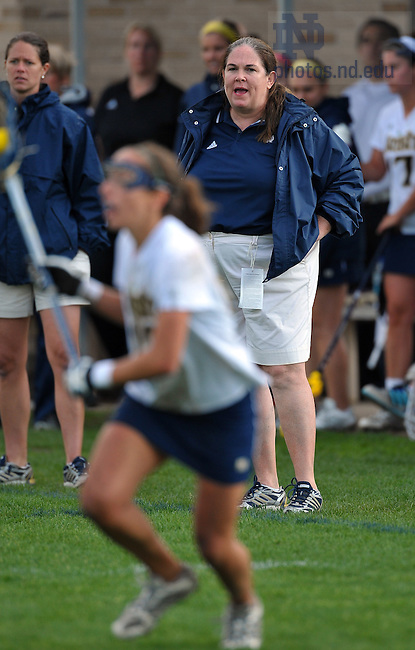 Notre Dame Women's Lacrosse head coach Tracy Coyne during the first round of the 2009 NCAA Championship...Photo by Matt Cashore/University of Notre Dame..