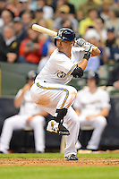 Milwaukee Brewers outfielder Norichika Aoki #7 during a game against the Los Angeles Dodgers at Miller Park on May 22, 2013 in Milwaukee, Wisconsin.  Los Angeles defeated Milwaukee 9-2.  (Mike Janes/Four Seam Images)