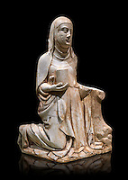 Gothic marble statue of Mary Magdelane (Magdelena) by Mestre de Pedralbes of Barcelona, 2nd half of 14th Century, from the cemetery of the cathedral of Barcelona.  National Museum of Catalan Art, Barcelona, Spain, inv no: MNAC  9797. Against a black background.