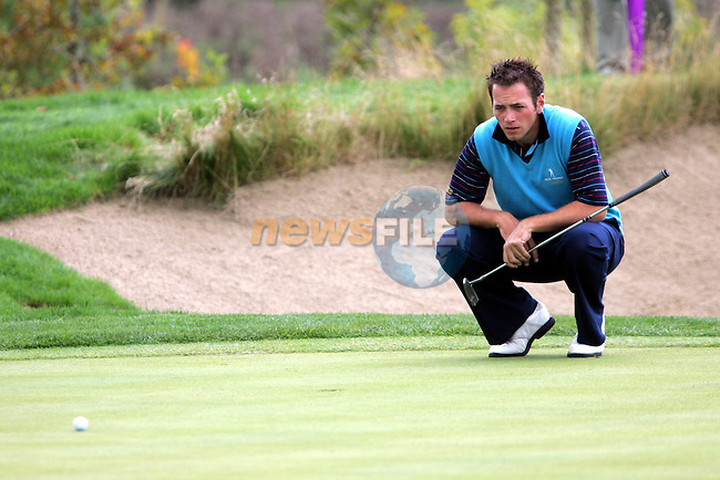 Nick Dougherty lines up his putt on the 10th hole in Saturday's foresomes at the Seve Trophy on the 28th of September 2007 at the The Heritage Golf & Spa Resort, Killenard, Co Laois, Ireland. (Photo by Manus O'Reilly/GOLFFILE)