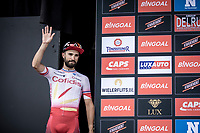podium with 2nd place finisher Nacer Bouhanni (FRA/Cofidis)<br /> <br /> GP Marcel Kint 2019 (BEL)<br /> One Day Race: Kortrijk – Zwevegem 188.10km. (UCI 1.1)<br /> Bingoal Cycling Cup 2019