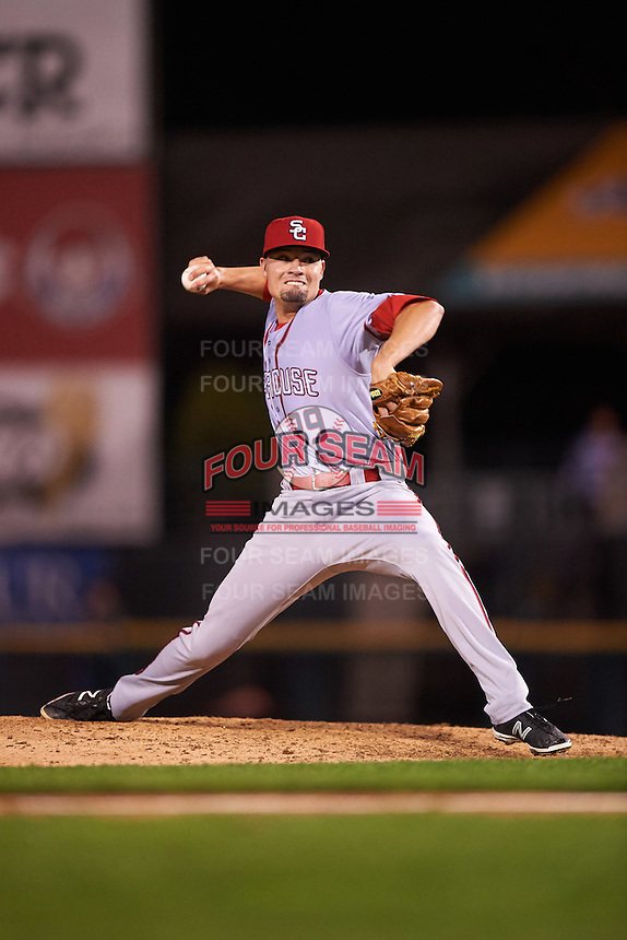 Syracuse Chiefs relief pitcher Koda Glover (29) delivers a pitch during a game against the Rochester Red Wings on July 1, 2016 at Frontier Field in Rochester, New York.  Rochester defeated Syracuse 5-3.  (Mike Janes/Four Seam Images)