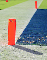 Sep. 20, 2009; San Diego, CA, USA; Detailed view of the end zone pylons during the game between the San Diego Chargers against the Baltimore Ravens at Qualcomm Stadium in San Diego. Baltimore defeated San Diego 31-26. Mandatory Credit: Mark J. Rebilas-
