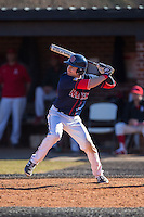 Grant Hoover (18) of the Shippensburg Raiders at bat against the Belmont Abbey Crusaders at Abbey Yard on February 8, 2015 in Belmont, North Carolina.  The Raiders defeated the Crusaders 14-0.  (Brian Westerholt/Four Seam Images)
