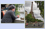 Paris bookseller along the Seine River and visitors with ice cream hurry to avoid being run over by a tour bus. Try some overhead framing with a tree branch to cover a grey sky.