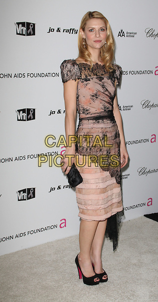 CLAIRE DANES.17th Annual Elton John AIDS Foundation Academy Award Viewing Party held at the Pacific Design Center, West Hollywood, California, USA..February 22nd, 2009.full length beige pink black lace dress open toe shoes clutch bag.CAP/ADM/KB.©Kevan Brooks/AdMedia/Capital Pictures.