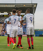 Nathaniel Chalobah (centre) (Chelsea) of England congratulates Marcus Rashford (Manchester United) of England on his goal during the International EURO U21 QUALIFYING - GROUP 9 match between England U21 and Norway U21 at the Weston Homes Community Stadium, Colchester, England on 6 September 2016. Photo by Andy Rowland / PRiME Media Images.