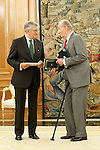 King Juan Carlos I of Spain attends in audience to Eduardo Torres-Dulce Lifante, Public Prosecutor of the State, to make delivery of the Annual Report of the Attorney General of the State.September 11,2011. (ALTERPHOTOS/Acero)