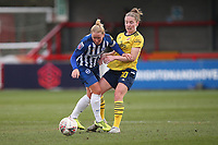 Kim Little of Arsenal and Danielle Bowman of Brighton during Brighton & Hove Albion Women vs Arsenal Women, Barclays FA Women's Super League Football at Broadfield Stadium on 12th January 2020