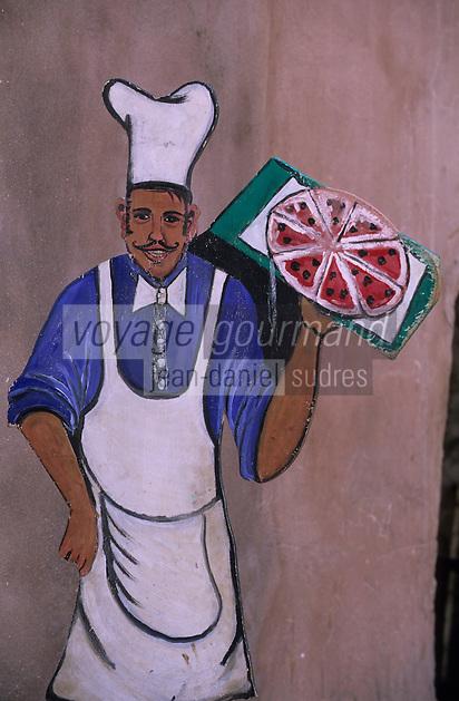 Afrique/Maghreb/Maroc/Essaouira : Enseigne d'un restaurant dans la Médina