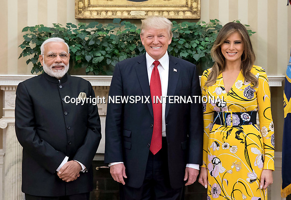 26.06.2017; Washington DC, USA: DONALD AND MELANIE TRUMP WITH NARENDRA MODI<br /> at the White House, during the Indian Prime Minister&rsquo;s recent visit.<br /> Mandatory Credit Photo: Roberts/NEWSPIX INTERNATIONAL<br /> <br /> IMMEDIATE CONFIRMATION OF USAGE REQUIRED:<br /> Newspix International, 31 Chinnery Hill, Bishop's Stortford, ENGLAND CM23 3PS<br /> Tel:+441279 324672  ; Fax: +441279656877<br /> Mobile:  07775681153<br /> e-mail: info@newspixinternational.co.uk<br /> **All Fees Payable To Newspix International**
