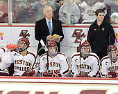 Quinn Smith (BC - 27), Jerry York (BC - Head Coach), Danny Linell (BC - 10), Destry Straight (BC - 17), Chris Malloy (BC - Manager), Patch Alber (BC - 3) - The Boston College Eagles defeated the Merrimack College Warriors 4-2 to give Head Coach Jerry York his 900th collegiate win on Friday, February 17, 2012, at Kelley Rink at Conte Forum in Chestnut Hill, Massachusetts.