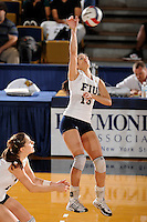 20 November 2008:  FIU middle blocker Gaby Jaimes (15) attempts a kill shot during the FIU 3-1 victory over South Alabama in the first round of the Sun Belt Conference Championship tournament at FIU Stadium in Miami, Florida.