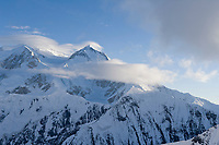 Aerial view of lenticular clouds over the north summit of Denali, North America's largest peak.