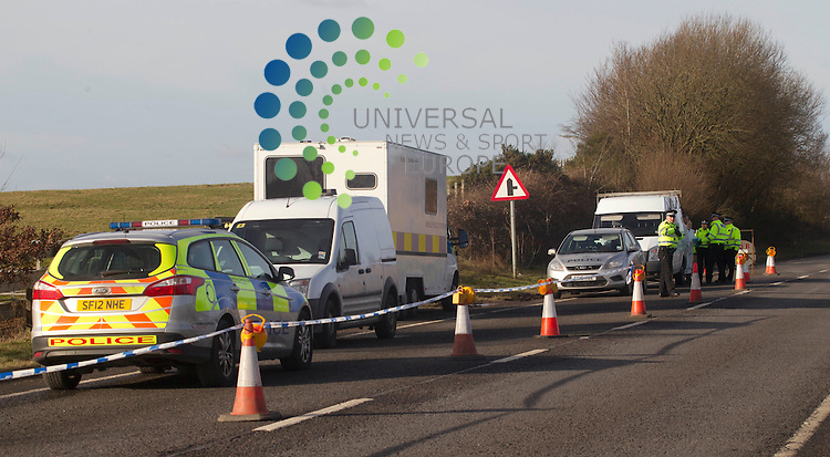 """A man's body has been found in a field near the A76 in Ayrshire. Police were alerted to the corpse in Carnell Estate. Forensics officers set up an examination tent at the scene today and carried out an investigation but the man's body is yet to be identified. A spokeswoman for Strathclyde Police said: """"Inquiries into the death are ongoing. Officers are currently treating the death as unexplained. A post mortem will be carried out in due course."""" Picture by Universal News and Sport (Scotland). 2/2/2013 All pictures must be credited to www.universalnewsandsport.com. (Office) 0844 884 51 22."""