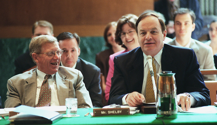 5/27/99.FISCAL 2000 APPROPRIATIONS--Conrad Burns, R-Mont., left, looks on as Richard Shelby, R-Ala., makes a joke during the transportation appropriations markup in Senate Appropriations..CONGRESSIONAL QUARTERLY PHOTO BY SCOTT J. FERRELL