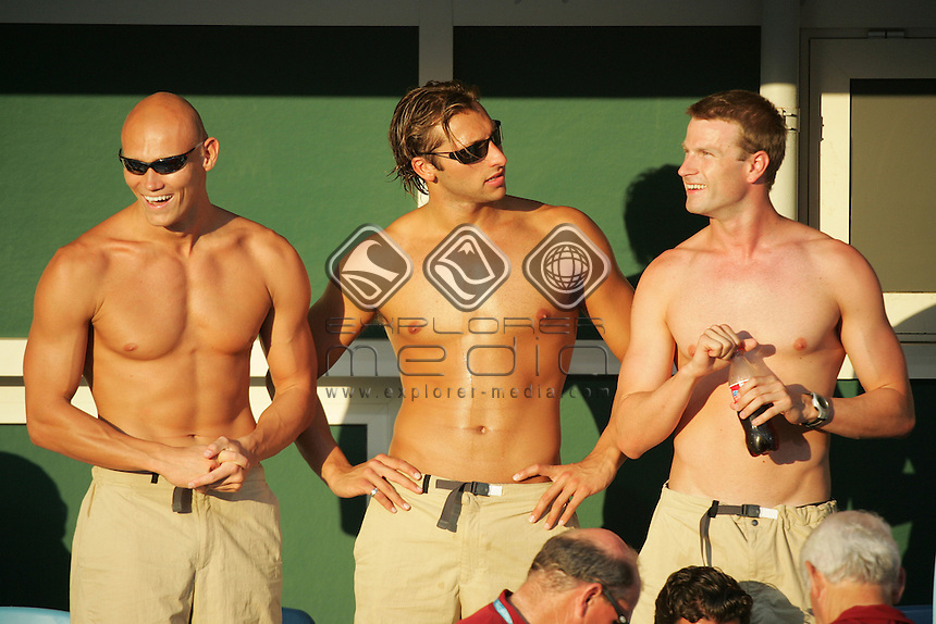 Michael Klim, Ian Thorpe and Jono van Hazel<br /> Swimming - Finals<br /> Summer Olympics - Athens, Greece 2004<br /> Day 06, 19th August 2004.<br /> &copy; Sport the library/Sandra Teddy