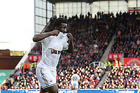 Sunday, 19 October 2014<br /> Pictured: Wilfried Bony of Swansea City celebrates scoring his sides first goal from the penalty spot. 0-1<br /> Re: Barclay's Premier League, Stoke City FC v Swansea City FC v at Britannia Stadium, Stoke, Staffordshire,UK.