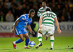 St Johnstone v Celtic..27.10.10  .Jennison Myrie-Williams takes on Joe Ledley.Picture by Graeme Hart..Copyright Perthshire Picture Agency.Tel: 01738 623350  Mobile: 07990 594431