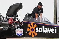 Apr. 26, 2013; Baytown, TX, USA: NHRA top alcohol dragster driver Aaron Olivarez during qualifying for the Spring Nationals at Royal Purple Raceway. Mandatory Credit: Mark J. Rebilas-