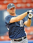 11 March 2008: Detroit Tigers' catcher Max St. Pierre warms up prior to a Spring Training game against the Cleveland Indians at Chain of Lakes Park, in Winter Haven Florida.The Tigers rallied to defeat the Indians 4-2 in the Grapefruit League matchup....Mandatory Photo Credit: Ed Wolfstein Photo