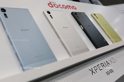 Samples of the DOCOMO smartphone XPERIA XZs on display during the launch event for 8 new mobile devices for the summer lineup on May 24, 2017, Tokyo, Japan. DOCOMO introduced seven new smartphones and one tablet along with a new app and service plans. (Photo by Rodrigo Reyes Marin/AFLO)