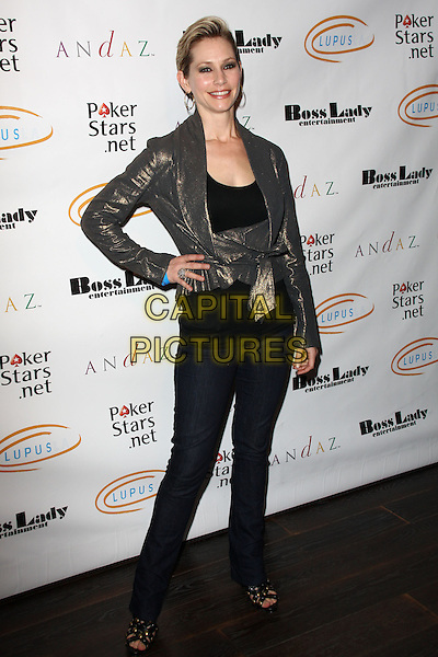 "MEREDITH MONROE. Lupus LA Raises Awareness with ""Get Lucky for Lupus"" held At Andaz Hotel, West Hollywood, California, USA..February 25th, 2010.full length jeans denim gold metallic jacket top bronze hand on hip.CAP/ADM/KB.©Kevan Brooks/AdMedia/Capital Pictures."