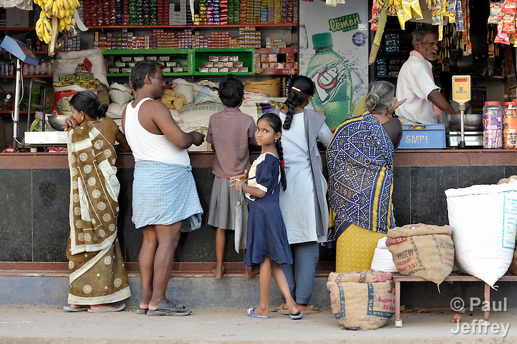 A small store on a street in Madurai, a city in Tamil Nadu state in southern India.