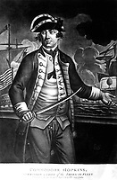 Commodore Hopkins, Commander in Chief of the American Fleet.  Copy of mezzotint, 1776.  (George Washington Bicentennial Commission)<br />Exact Date Shot Unknown<br />NARA FILE #:  148-GW-461<br />WAR & CONFLICT #:  44