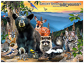 Howard, REALISTIC ANIMALS, REALISTISCHE TIERE, ANIMALES REALISTICOS, paintings+++++Smoky Mountains poster,GBHRPROV141,#A# ,puzzles