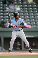 Designated hitter Curtis Terry (29) of the Hickory Crawdads bats in a game against the Greenville Drive on Wednesday, May 15, 2019, at Fluor Field at the West End in Greenville, South Carolina. Greenville won, 6-5. (Tom Priddy/Four Seam Images)